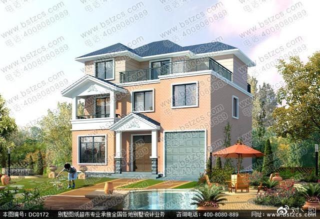 带露台及车库二层半农村自建房屋设计图-北京时间图片
