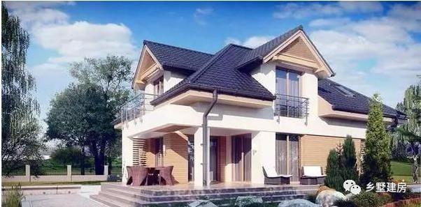 蓝色的坡屋顶设计,做了两个老虎窗设计,外观显得高端大气.