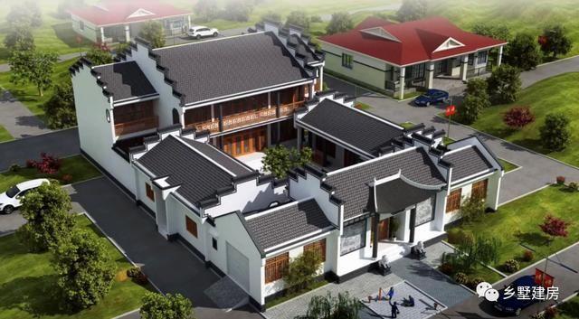 两栋新中式四合院别墅,将传统建筑和现代化生活元素,完美融合!