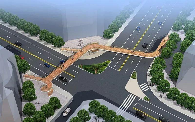 城區人行過街天橋方案設計 勝利路-蒼園路交叉口天橋 看完天橋效果圖