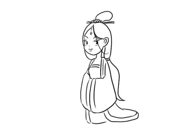 古代妃子服装简笔画