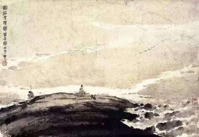 平沙落雁,1962年3月.诗云:岁宴江空,风严水结.冯夷剪冰,飘飘洒雪.