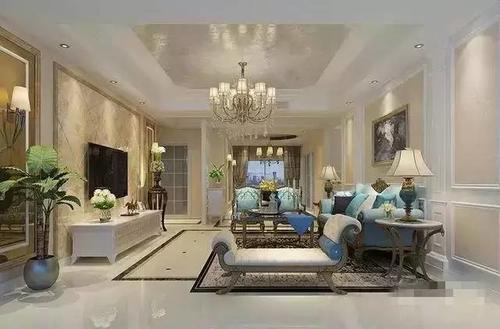 欧式装修需要的就是大气,吊顶 吊灯 瓷砖铺贴 背景墙,再配上欧式家具