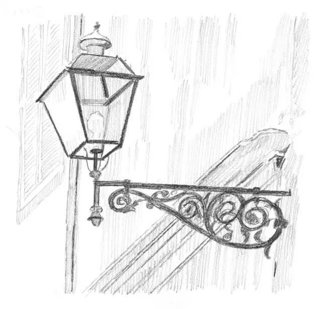 欧式街灯简笔画