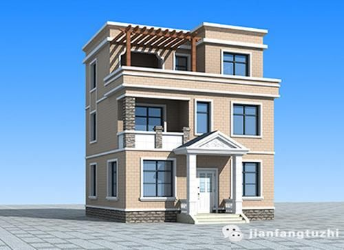 三层平屋顶20万元80小户型2厅4室农村自建房完整设计图