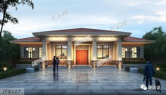 别墅外观红色坡屋顶,搭配暖色真石漆外墙,再配以原木门窗套点缀,洋溢