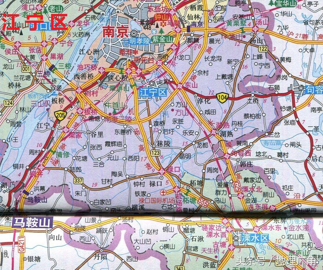 南京市区地图全图_南京各区分布图