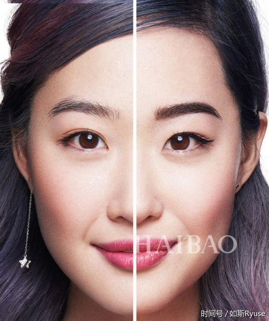 但是整体看起来五官不立体,较扁平,所以需要有角度的眉毛,圆脸的小