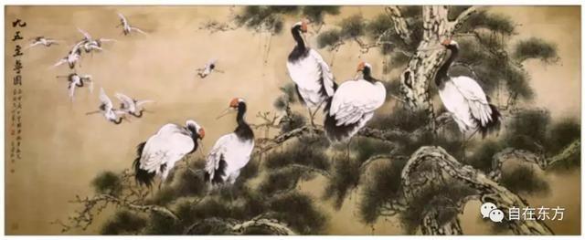 群鹤舞空手绘图片