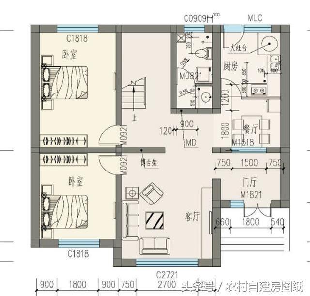 20万带庭院的农村房屋设计图,5套方案,2款带火炕-北京