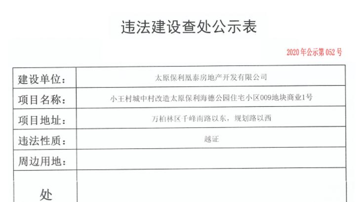 太原三项目因越证被罚 涉及保利、方维等房企