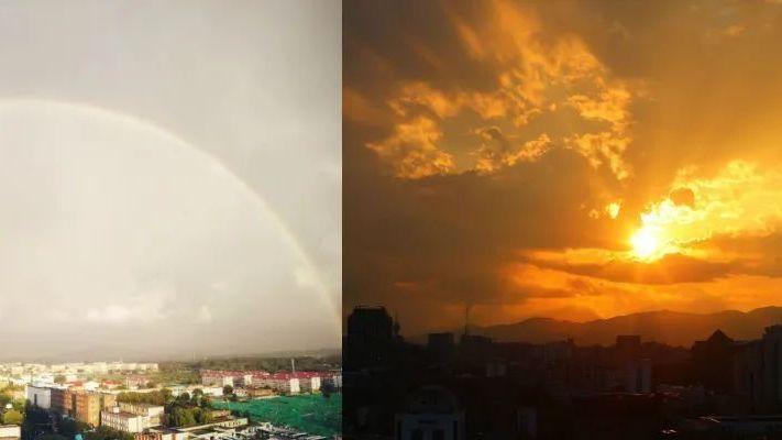 彩虹+晚霞!秋雨过后,蒲京的天空美呆了